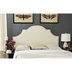 Shop for Safavieh Hallmar White Leather Upholstered Arched Headboard - Silver…
