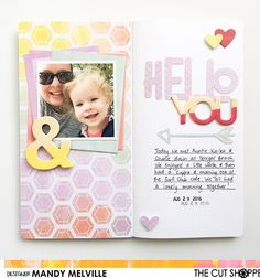Hello You | Traveler's Notebook spread | The Cut Shoppe Design Team project | Pink Paislee Paige Evans Take me Away collection