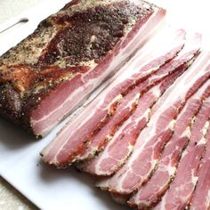 Learn how to make bacon from scratch in a smoker, oven, or grill. Curing bacon at home is a great way to make bacon better than ever with this maple bacon recipe. Beef Bacon, Smoked Bacon, Tuna Recipes, Sausage Recipes, Grilled Recipes, Meatloaf Recipes, Charcuterie, Curing Bacon, Barbecue