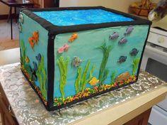 Cathy MacConnel's aquarium cake Aquarium Cake, Tank Cake, Ocean Cakes, Aquarium Design, Birthday Party Themes, Birthday Cake, Cute Cakes, Themed Cakes, Cake Art
