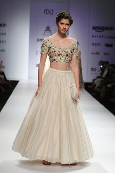 Lehenga - Pratima Pandey - Ivory blouse with floral parsi embroidery and ivory silk organza lehenga - Amazon India Fashion Week Spring-Summer 2016