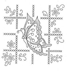 butterfly square 1 cross stitch/embroidery pattern for hand made quilt. Butterfly Embroidery, Hand Embroidery Patterns, Vintage Embroidery, Embroidery Applique, Beaded Embroidery, Cross Stitch Embroidery, Embroidery Designs, Embroidery Sampler, Parchment Cards