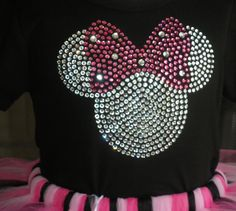 "6.5"" Minnie Mouse rhinestone TRANSFER for Disney costume t shirt clear/pink. $13.50, via Etsy."