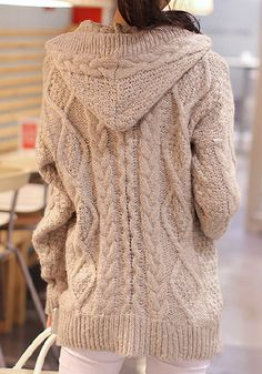 Light Brown Sweater Coat - With Hoodie Sweater Coat