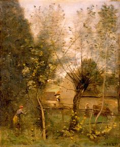 "Jean-Baptiste-Camille Corot: ""Farm Scene"",  ca. 1865–1868, oil on canvas, High Museum of Art."