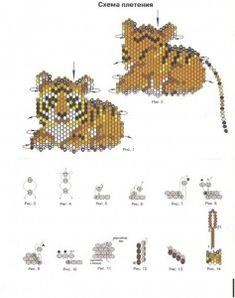 flat beaded tiger figurine - poor image but clear enough to adapt for own… Seed Bead Patterns, Peyote Patterns, Jewelry Patterns, Beading Patterns, Peyote Beading, Beaded Animals, Beaded Ornaments, Pony Beads, Beads And Wire