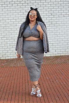 Plus Size Metallic Knit Crop Top & Skirt Set Curvy Girl Fashion, 50 Fashion, Fashion Trends, Plus Size Summer Outfit, Plus Size Outfits, Plus Size Girls, Plus Size Women, Curvy Women Outfits, Club Cocktail Dresses