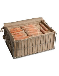 "Root Storage Bin -  Root veggies like carrots and beets will stay fresh all winter and even grow sweeter in this storage bin. Just fill with layers of damp sand or sawdust, alternating with layers of carrots or beets, and put in a cool, dark place. Potatoes, turnips and squash can go right in the bin without sand. $34.95 or 2+ for $32 each, at Gardener's Supply, Item #38-751. 18"" W x 12-1/2"" L x 8-1/2"" H"