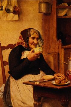 """""""Old Lady Drinking Tea with Pastries"""" (Date unknown), by Swiss artist - Albert Anker (1831-1910), Medium unknown, Dimensions unknown, Location unknown. www.teacampaign.ca  Source: see below."""