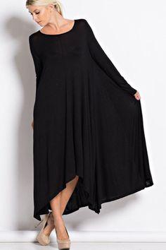 Free Falling Long Sleeve Maxi Dress - Black - RESTOCK - ShopLuckyDuck  - 1