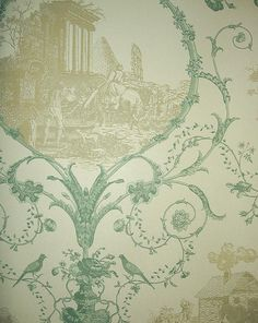 Au Pieds des Ruines Wallpaper Toile design wallpaper depicting rural screens in cream and teal