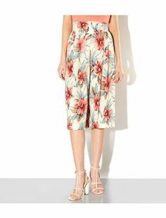 White Pattern (White) White Floral Print Midi Culottes | 306339419 | New Look