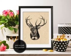 Deer Red Deer Bow Tie Antlers 8x10 White Background & ClipArt Deer drawing Retro Printable Image DIGITAL INSTANT DOWNLOAD graphic HQ300dpi by ZikkiArt on Etsy