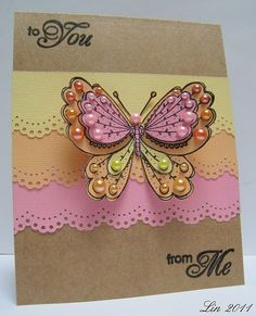 Love the colored pearl details on the butterfly!Scalloped background card.  ck some of the color inspirations!
