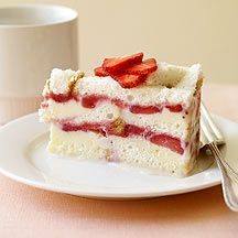 Frozen Strawberry Layer Cake from Weight Watchers (5 points)  I used a 13x9 pan and had one less layer.