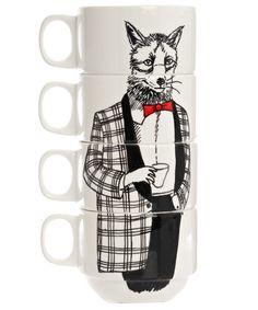 Jimbob Art, Mr Fox Coffee Cup Set, £49.95. Set of four bone china stackable coffee cups. #libertyhome #coffeecups #jimbobart