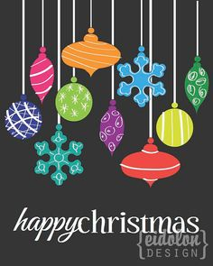 8x10 Happy Christmas Hanging Ornaments Print by eidolondesign, $10.00