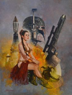 RETURN OF THE JEDI - Leia Slave and Boba Fett - Painting SANJULIAN, in GerardNadal's SANJULIAN Comic Art Gallery Room - 1103769