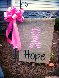 "Breast Cancer Awareness ""Hope"" Burlap Garden Flag w/ Pink Bow on Etsy, $10.00"