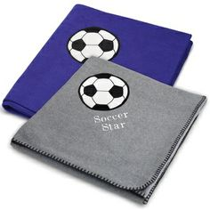Embroidered Soccer Fleece Blankets , Add a Monogram, Name or Initials