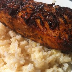 Salmon with parmesan butter brown rice topped with a little sea salt <3