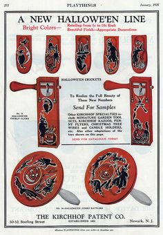 Vintage Halloween Ad ~ Kirchhof Halloween Noisemakers Ad ©1928