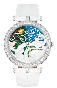 The Van Cleef and Arpels Les Jardines Collection showcases four timepieces representing gardens from around the world. Stylish Watches, Cool Watches, Watches For Men, Women's Watches, Unusual Watches, Expensive Watches, Hand Watch, Van Cleef Arpels, Watch Brands