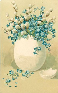 With joyful easter wishes blue forget me nots and white pussy willow in white egg best easter wishes messages easter wishing pictures and easter wishes 2018 make easter messages pictures wishes wishing Easter Art, Easter Crafts, Vintage Cards, Vintage Images, Easter Wishes Messages, Easter Greeting Cards, Easter Printables, Easter Holidays, Arte Floral
