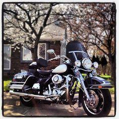 Spring Shot of Harley Davidson FLHP Police Motorcycle, Road King.