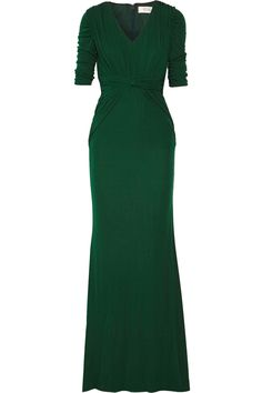 BADGLEY MISCHKA Gathered Jersey Gown. #badgleymischka #cloth #gown