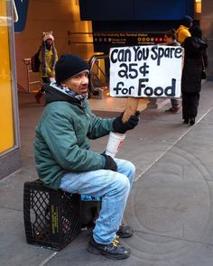 CAN YOU SPARE 25 CENTS FOR FOOD Banner, 42nd Street, Manhattan, New York City   Flickr - Photo Sharing!