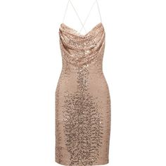 BADGLEY MISCHKA   Draped sequined tulle dress ($240) ❤ liked on Polyvore featuring dresses, sequin embellished dress, sequin dress, badgley mischka dresses, brown cocktail dress and brown dresses