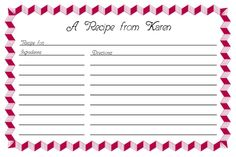 Free Recipe Card Templates For Word Amazing 97 Best Kitchen~Binders~Recipe Cards Images On Pinterest  Free .