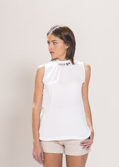 """White Sleeveless Diamonte Collar Blouse. Material: 100% Polyester. Model wears UK size S and her height is 5'8"""" - www.froww.com"""