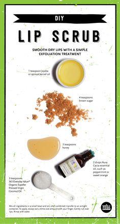 Lip Scrub Homemade, Homemade Moisturizer, Sugar Scrub Diy, Diy Scrub, Homemade Facials, Clean Beauty, Diy Beauty, Natural Beauty, Beauty Tricks