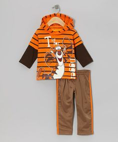 Take a look at this Orange Tigger Layered Hoodie & Brown Pants - Infant by Winnie the Pooh on #zulily today!