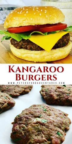This Kangaroo burgers recipe is juicy and full of flavor. Low in fat, high in protein, you probably won't even realize it's kangaroo! Goat Recipes, Pork Recipes For Dinner, Burger Recipes, Grilling Recipes, Brunch Recipes, Burger Mix, Patties Recipe, Gourmet Burgers, New Zealand