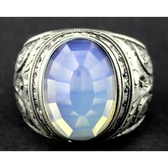 Sterling Silver 925 men ring ,ethnic design with moonstone stone