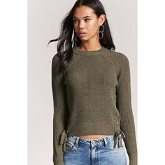 439aac6d95 Forever21 Ribbed Knit Lace-Up Sweater ( 23) via Polyvore featuring tops