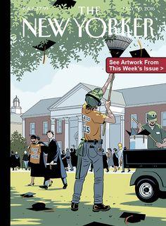 "Cover Story: R. Kikuo Johnson's ""Commencement"" - The New Yorker The New Yorker, New Yorker Covers, Capas New Yorker, Magazin Covers, Simone Biles, Ligne Claire, Arte Pop, Grafik Design, Magazine Art"