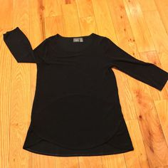 Chico's TRAVELERS BLACK 3/4 SLEEVE ROUND PULLOVER SHIRT BLOUSE CHICOS SIZE 0 S/M  | eBay