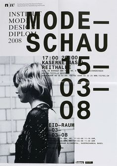 Text over image, use of size of texts. Institut Modern Design Poster