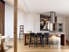 Contemporary Australian design , modern stylish kitchen with a wood table center island. Australian Interior Design, Interior Design Awards, Kitchen Interior, Kitchen Design, Kitchen Living, Home Kitchens, Mid-century Modern, House Design, House Styles