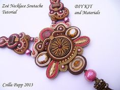 Soutache Necklace tutorial in English and materials by CsillaPapp Soutache Tutorial, Necklace Tutorial, Macrame Tutorial, Diy Necklace, Beading Tools, Soutache Necklace, Macrame Design, Czech Glass Beads, Bead Art