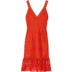 Diane von Furstenberg Tiana guipure lace dress (39.550 RUB) ❤ liked on Polyvore featuring dresses, bright orange, red lace dress, summer cocktail dresses, lace cocktail dress, floral summer dresses and party dresses