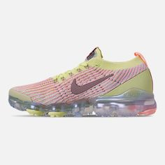 4cf78e34ca3d2 Left view of Women s Nike Air VaporMax Flyknit 3 Running Shoes in Barely  Volt Diffused