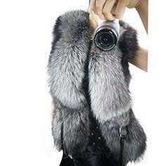 6676734be04c4 Sexy Women Warm Faux Fur Gilet Splice Leather Sleeveless Vest Waistcoat  Jacket (L) Faux