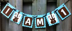 I am 1 Rock and Roll Theme High Chair Banner, Birthday Decorations, Baby Blue, Brown, White, Rock and Roll Party Decorations, Music Birthday