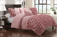 5-pieces Dusty Pink Textured Ruffle Comforter Set with Jeweled Pillow, King JD Home,http://www.amazon.com/dp/B00EW67KXS/ref=cm_sw_r_pi_dp_8iSwtb14SBCKBCXQ