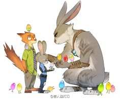 Judy Hopps, Nicke Wild, and the Easter Bunny (Zootopia & Rise of the Guardians) Zootopia Anime, Zootopia Comic, Zootopia Art, Cartoon Crossovers, Disney Crossovers, Funny Disney Memes, Disney Cartoons, Disney And Dreamworks, Disney Films